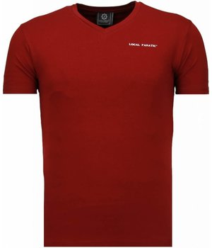 Local Fanatic Basic Exclusieve V Neck - T-Shirt - Burgundy
