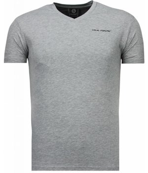 Local Fanatic Basic Exclusieve V Neck - T-Shirt - Grey