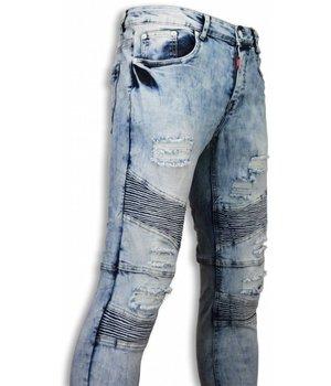 Justing Exclusive Holed Ribbed Jeans - Slim Fit Biker Jeans Fluted Knee - Blue