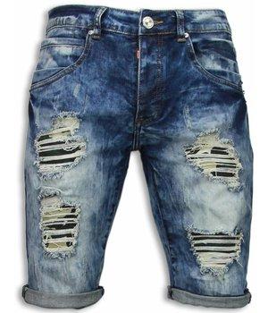 Justing Denim Shorts Men - Slim Fit Vintage Look Shorts - Blue