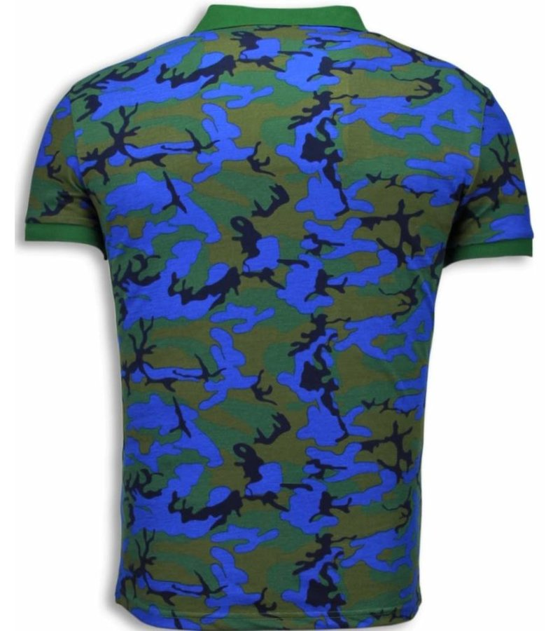 Black Number Casual Polo - Camouflage Polo Shirt - Blue