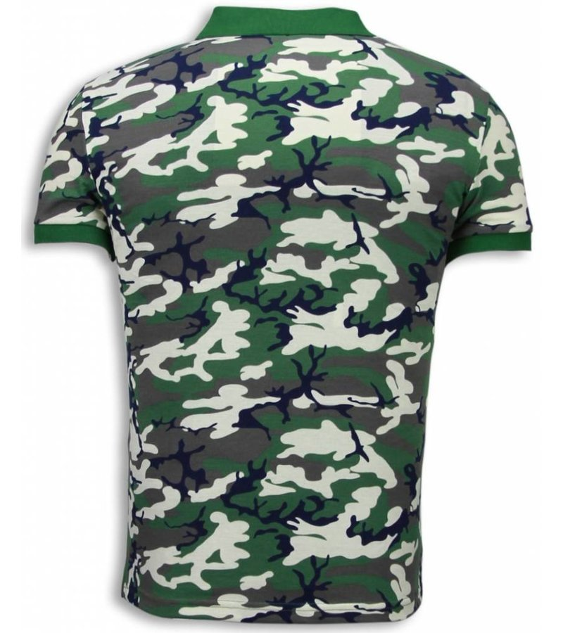 Black Number Casual Polo - Camouflage Polo Shirt - Beige/ Green