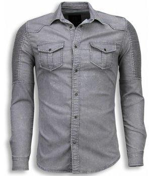 Diele & Co Denim Shirts - Slim Fit Long Sleeve Shirt - Biker Shoulder - Grey