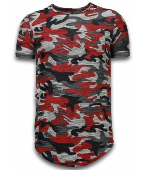 YesNo Assorted Camouflage T-shirt - Long Fit Camo Shirt Chest Pocket - Burgundy