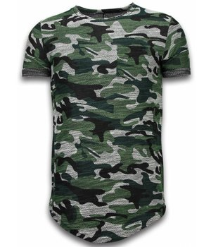 YesNo Assorted Camouflage T-shirt -Long Fit Camo Shirt Chest Pocket - Green