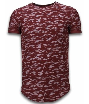 John H Fashionable Camouflage T-shirt - Long Fit Shirt Army Pattern - Burgundy