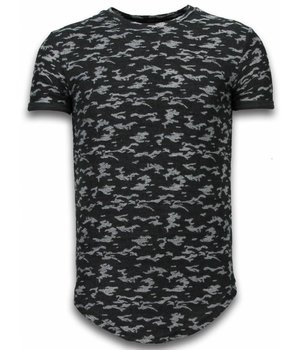 John H Fashionable Camouflage T-shirt - Long Fit Shirt Army Pattern - Black