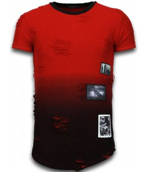 John H Pictured Flare Effect T-shirt - Long Fit Shirt Dual Colored - Red