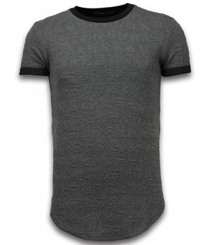 John H 3D Encrypted T-shirt - Long Fit Shirt Zipped - Grey