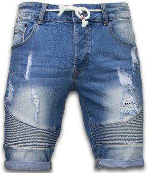 Enos Denim Shorts Men - Slim Fit Biker Look Shorts - Blue