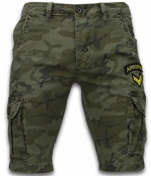 Enos Casual Shorts Men - Slim Fit Army Stitched Shorts - Dark Green