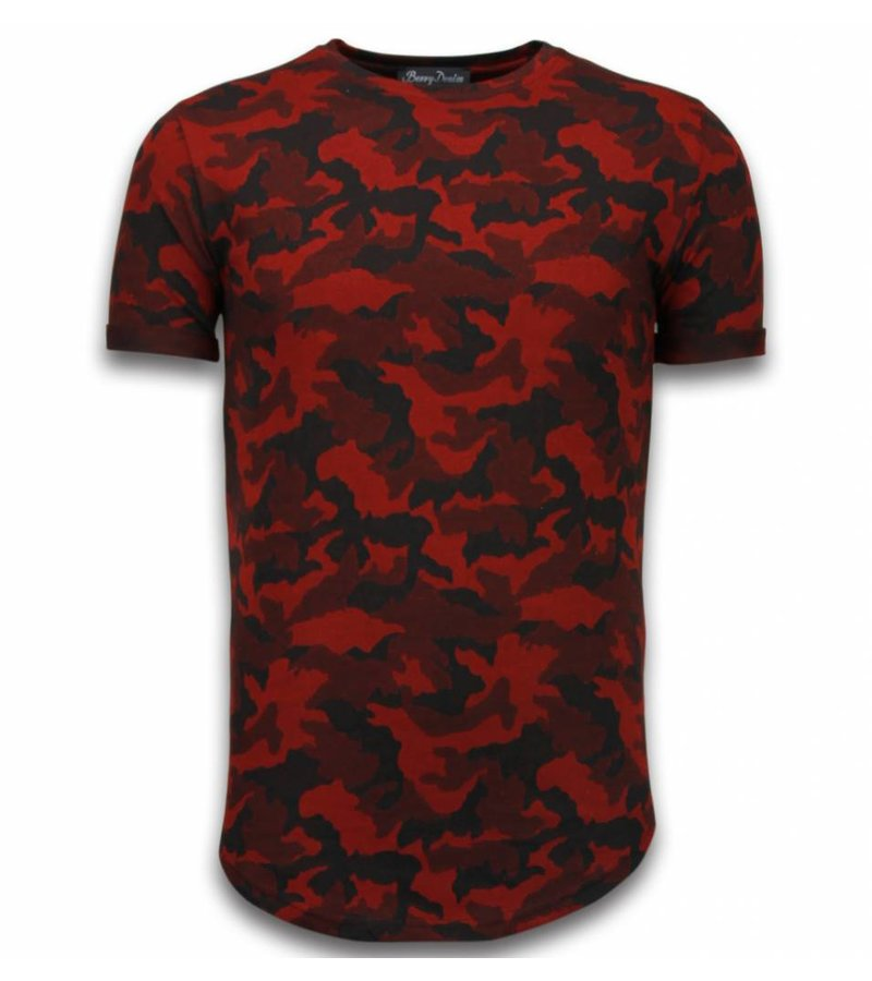 Berry Denim Casual Camouflage Pattern - Aired Slim Fit T-shirt - Red