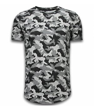 Berry Denim Casual Camouflage Pattern - Aired Slim Fit T-shirt - Grey