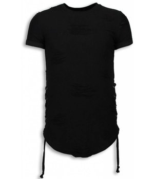 John H Destroyed Look T-shirt - Ribbon Long Fit Sweater - Black