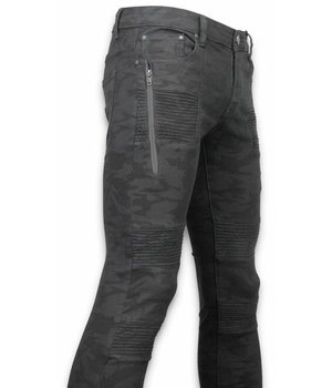 New Stone Exclusive Ribbed Jeans - Slim Fit Biker Jeans Camouflage - Black