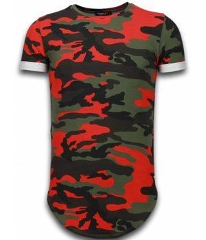 Uniplay Known Camouflage T-shirt - Long Fit Shirt Army - Red