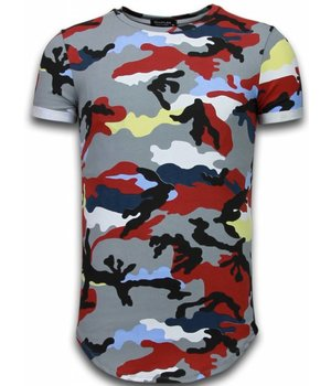 Uniplay Known Camouflage T-shirt - Long Fit Shirt Army - Burgundy