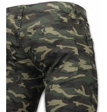 New Stone Exclusive Ribbed Camo Jeans - Slim Fit Biker Jeans Camouflage - Green