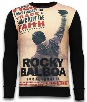 Local Fanatic Rocky Balboa Faith - Digital Rhinestone Sweater - Black