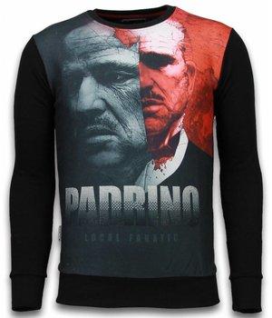 Local Fanatic El Padrino Two Faced - Digital Rhinestone Sweater - Black