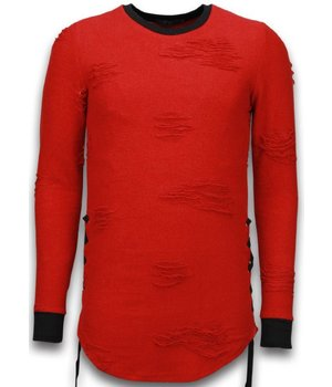 John H Destroyed Look Sweater - Side Laces Long Fit Sweater - Red