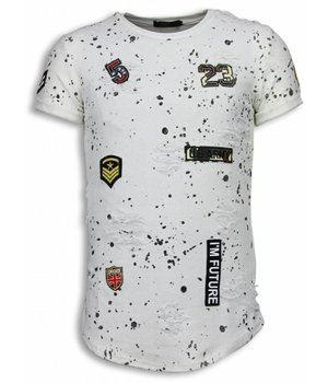 John H Paint Drops Army Shirt - Long Fit T-shirt Black Dotted - White
