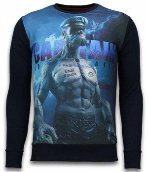 Local Fanatic The Sailor Man - Digital Rhinestone Sweater - Black