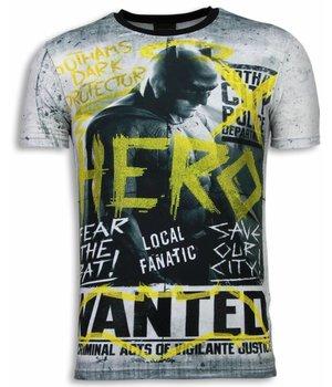 Local Fanatic Wanted Gothams Hero - Digital Rhinestone T-shirt - Grey