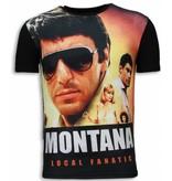 Local Fanatic Tony Montana - Digital Rhinestone T-shirt - Black