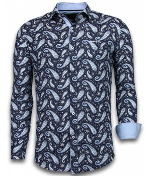 Gentile Bellini Italian Shirts - Slim Fit Long Sleeve Shirt - Flower Pattern - Blue