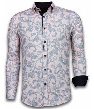 Gentile Bellini Italian Shirts - Slim Fit Long Sleeve Shirt - Baroque Pattern - Pink