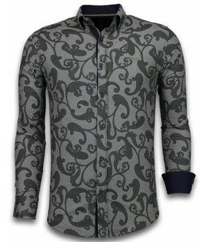 Gentile Bellini Italian Shirts - Slim Fit Long Sleeve Shirt - Baroque Pattern - Brown