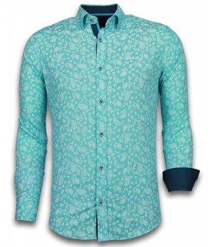 Gentile Bellini Italian Shirts - Slim Fit Long Sleeve Shirt - Leaves Pattern - Turqoise