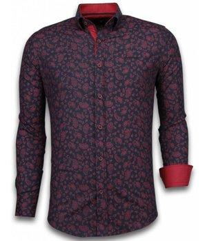 Gentile Bellini Italian Shirts - Slim Fit Long Sleeve Shirt - Leaves Pattern - Black