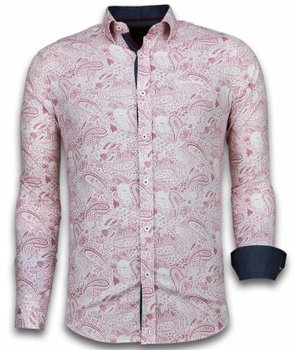 Gentile Bellini Italian Shirts - Slim Fit Long Sleeve Shirt - Allover Flower Pattern - Red