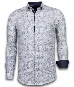 Gentile Bellini Italian Shirts - Slim Fit Long Sleeve Shirt - Allover Flower Pattern - Blue
