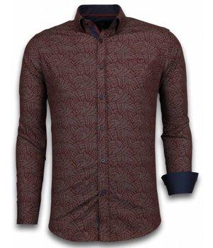Gentile Bellini Italian Shirts - Slim Fit Long Sleeve Shirt - Dotted Leaves Pattern - Burgundy