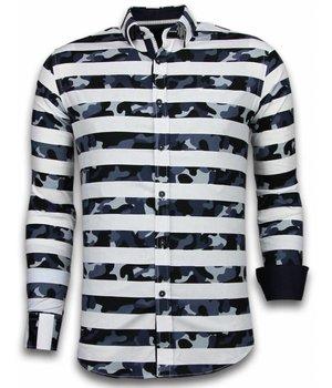 Gentile Bellini Italian Shirts - Slim Fit Long Sleeve Shirt - Big Stripe Camouflage Pattern - White