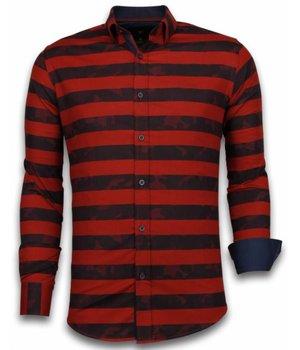 Gentile Bellini Italian Shirts - Slim Fit Long Sleeve Shirt - Big Stripe Camouflage Pattern - Red