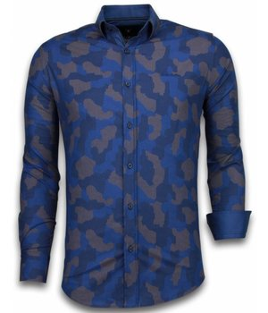 Gentile Bellini Italian Shirts - Slim Fit Long Sleeve Shirt - Dotted Camouflage Pattern - Blue