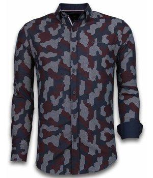Gentile Bellini Italian Shirts - Slim Fit Long Sleeve Shirt - Dotted Camouflage Pattern - Burgundy