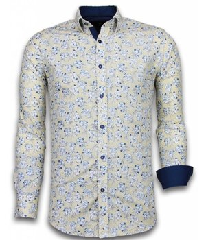 Gentile Bellini Italian Shirts - Slim Fit Long Sleeve Shirt - Drawn Flower Pattern - Beige