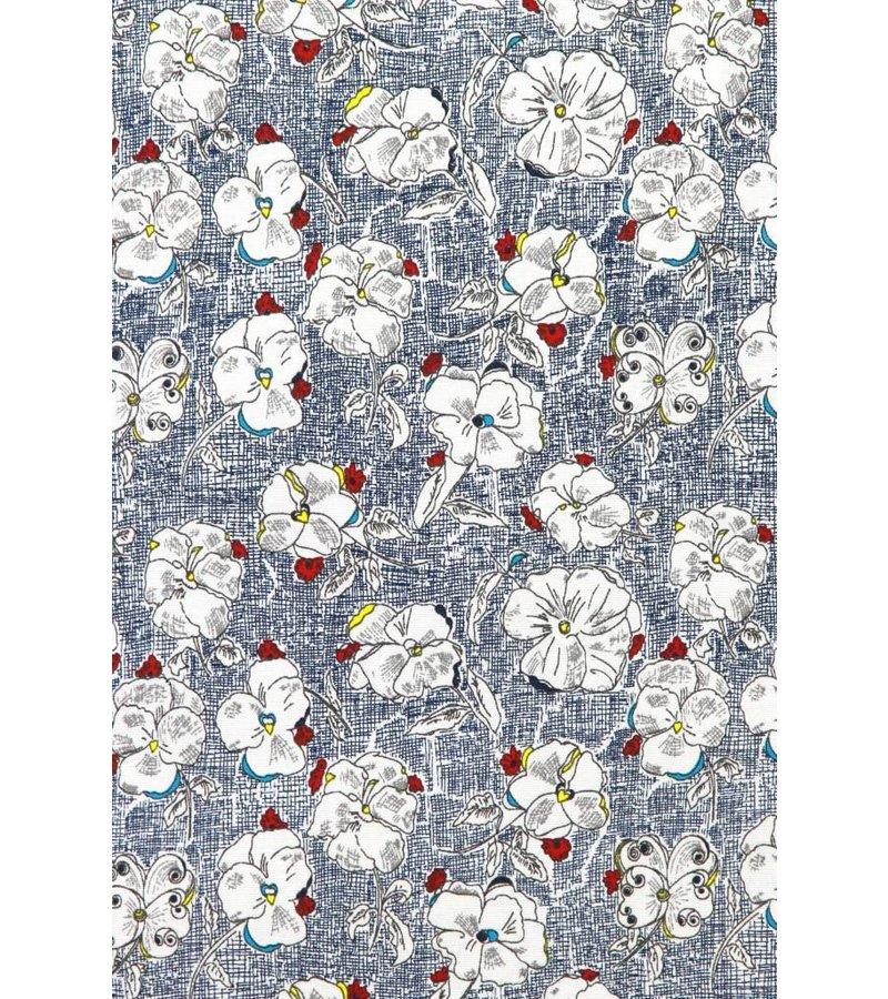 Gentile Bellini Italian Shirts - Slim Fit Long Sleeve Shirt - Drawn Flower Pattern - Blue