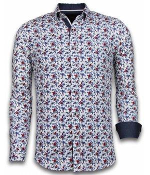 Gentile Bellini Italian Shirts - Slim Fit Long Sleeve Shirt - Painted Flower Pattern - White