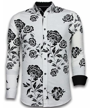 Gentile Bellini Italian Shirts - Slim Fit Long Sleeve Shirt - Flower Pattern - White