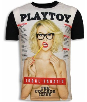 Local Fanatic Playtoy The College Issue - Digital Rhinestone T-shirt - Black