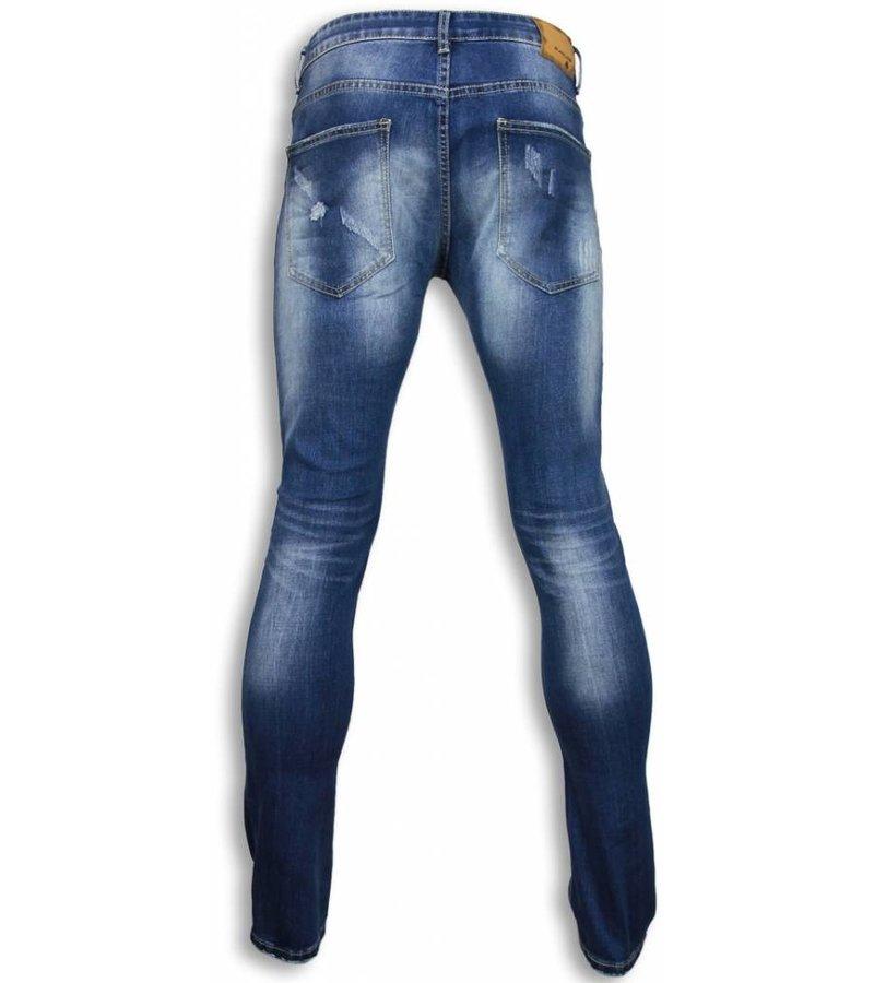 Black Ace Basic Jeans - Blue Damaged Regular Fit - Blue