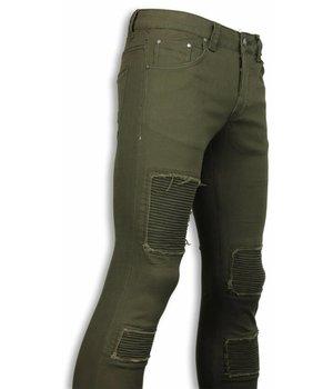 New Stone Exclusive Biker Jeans - Slim Fit Biker Jeans - Green