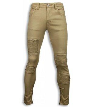 New Stone Exclusive Biker Jeans - Slim Fit Biker Jeans - Beige