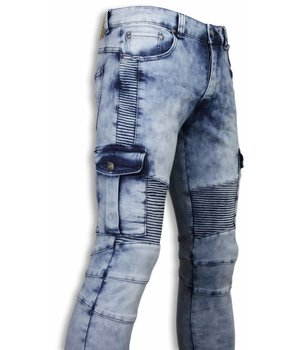 New Stone Exclusive Biker Jeans - Slim Fit Biker Pocket Jeans - Light Blue